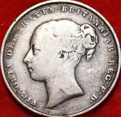 1856 Great Britain Shilling Silver Foreign Coin Free S/H