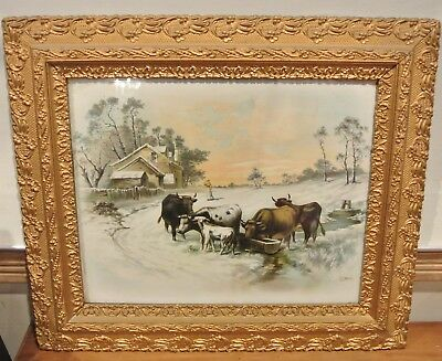 Vtg Resin and Wood Frame with a Print of Feeding Cattle at the Farm
