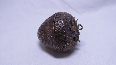 RARE Vintage Tiffany & Co Makers Sterling Silver Vermeil Strawberry Pill Box