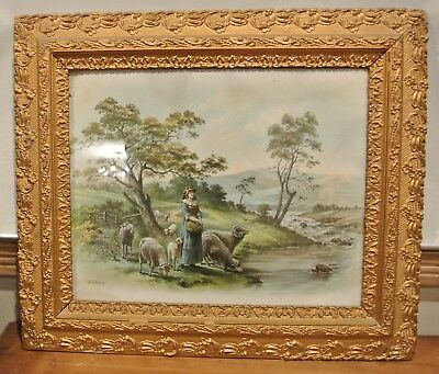 Vintage Resin and Wood Frame with a Print of a Girl with Sheep Home Farm Decor