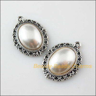 2Pcs White Tibetan Silver Tone Acrylic Oval Flower Charms Pendants 21x29mm