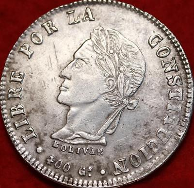 1861 Bolivia 8 Soles Silver Foreign Coin Free S/H
