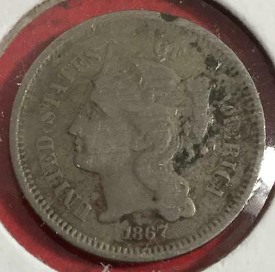 1867 US Three Cent Nickel Piece! VG! Old US Coins!