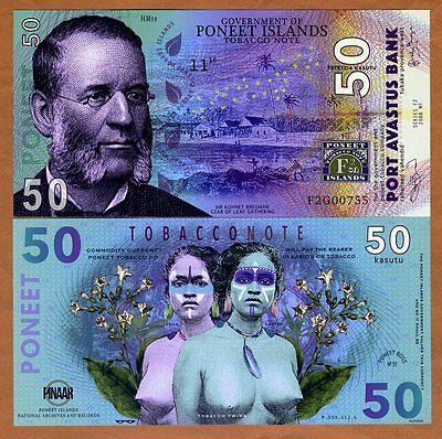 Poneet Islands, 50 Kasutu, 2016, POLYMER, UNC > Tobacco Twins