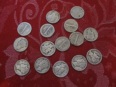 (15) Mixed Lot Of Mercury Dimes 90% Silver 2-'29,'34, 3-'37,5-'42,'43 Plus 3
