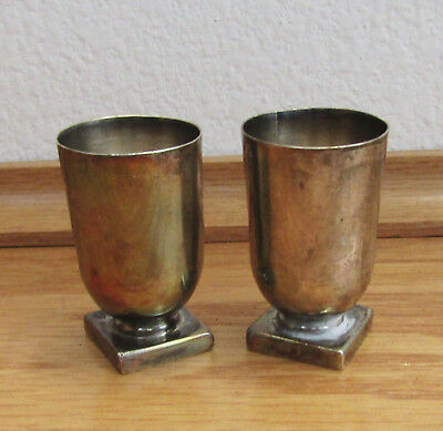 Vintage 980 Silver 2 Small Footed Cups, Rafael Melendez mark, Taxco Mexico, rare