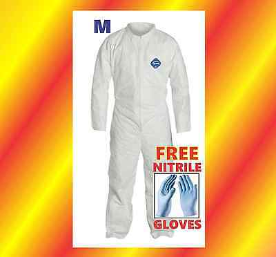 M Tyvek Protective Coveralls Suit Hazmat Clean-Up Chemical FREE Nitrile Gloves