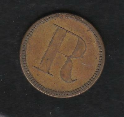 """Maveric token , Unattributed, Good for 5 cents in Trade, Obverse """"R"""""""