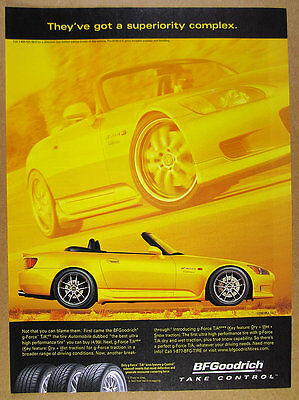 2000 Honda S2000 Comptech yellow car photo BFGoodrich Tires print Ad