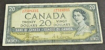 "1954 ""devils Face"" Bank Of Canada $20 Dollar Note, Circulated Condition, Lot#19"