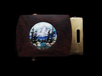 LH23132 *NOS* VINTAGE 1970s HAND PAINTED *MOUNTAIN SCENE* ART SOLID BRASS BUCKLE