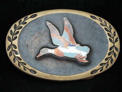OB07160 *NOS* VINTAGE 1970s **FLYING DUCK** SOLID BRASS HERITAGE AMINCO BUCKLE