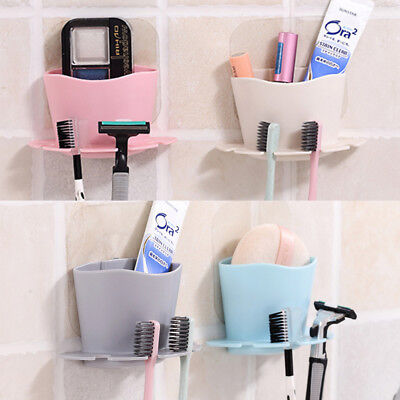 Wall Suction Cup Toothbrush Toothpaste Holder Rack Bathroom Storage Organizer