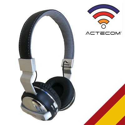 Cascos Auriculares Bluetooth Negros Reproductor Musica Movil Pc Manos Libres