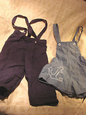 Vintage 50s Childs Boys SHORTS Romper Pants GC SNAPS Straps 2-3 LOT 2 NAUTICAL