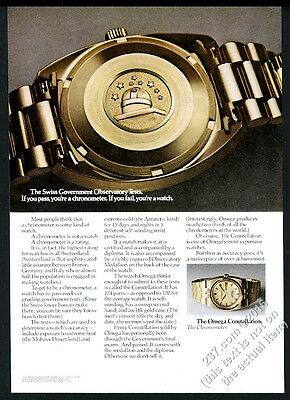 1970 Omega Constellation chronometer gold watch photo vintage print ad
