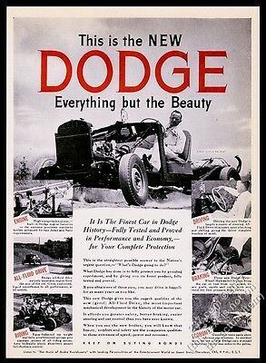 1945 Dodge car chassis with engine Jimmie Lynch driving photo vintage print ad