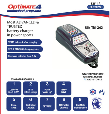 Optimate 4 Dual 12V Motorcycle Battery Charger & Optimiser Latest Model