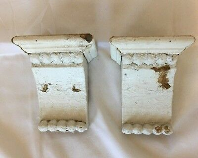 1890's Antique Pair(2) Wood Corbels Brackets Victorian Gingerbread White 747-17