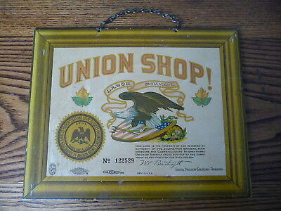 ORIGINAL1930s BARBER SHOP AFL UNION SIGN BASTIAN BROS ROCHESTER LITHOGRAPH TIN
