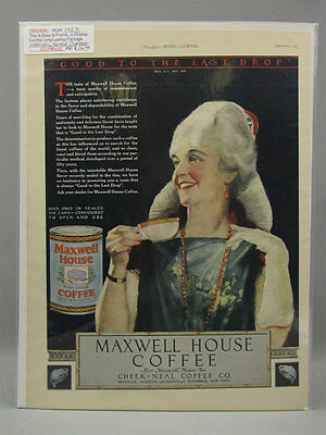 1923 Color Print Ad Maxwell House Coffee Flapper Woman