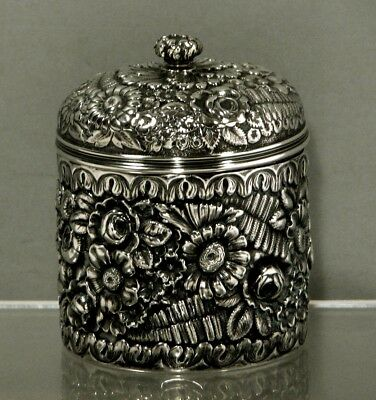 """Tiffany Sterling Silver Tea Caddy         c1883      """"HAND DECORATED"""""""
