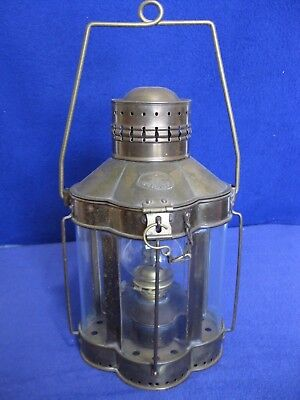 Vintage Viking Brass Nautical Ship Oil Lantern Scalloped Design