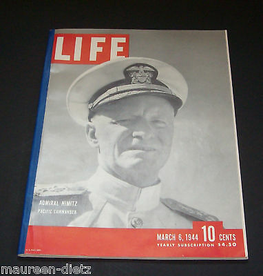 March 6, 1944 LIFE Magazine Complete ads ad Historical WWII, FREE SHIPPING Mar 3