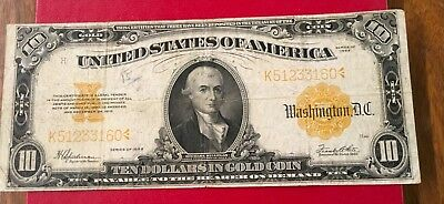 1922 $10 Gold Certificate,VG,Free Shipping