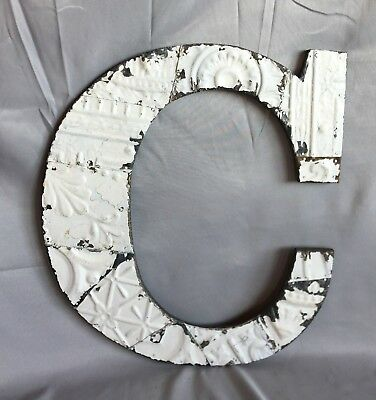 "Large Antique Tin Ceiling Wrapped 16"" Letter 'C' Patchwork Metal White 753-17"