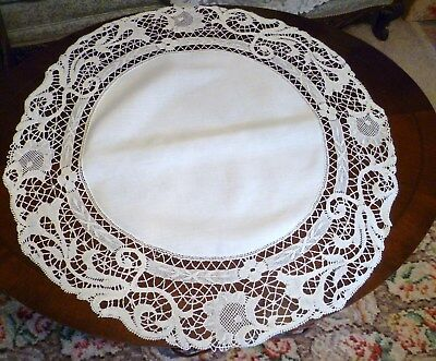 "Vintage 33"" Diameter CENTERPIECE w/ FRENCH CLUNY LACE on LINEN"