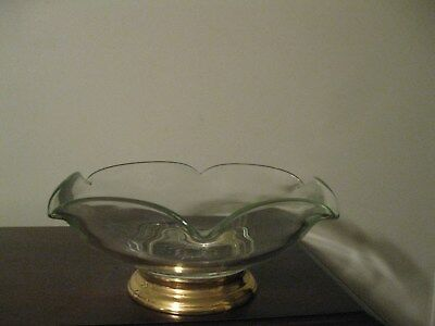 Large Mid-Century Clear Glass Bowl with Gold Tone Base