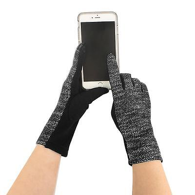 Winter Fancy Soft Woven Warm Smart Phone Touch Screen Texting Tech Gloves Black