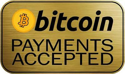 """Bitcoin Payments Accepted Her 6"""" Window Decal Sticker Cryptocurrency Fiat"""