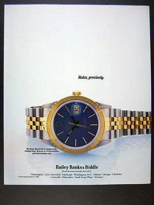 1985 Rolex Thunderbird Datejust blue dial watch photo vintage print Ad