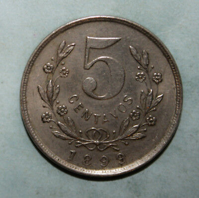 Nicaragua 5 Centavos 1899 Almost Uncirculated Coin - Nice!