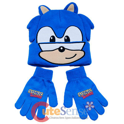 c38b43e5206 SONIC THE HEDGEHOG Beanie Gloves Set Knitted Kids Hat Set Sonic Face ...