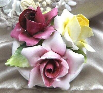 Antique Crown Staffordshire Porcelain Floral Bouquet Yellow Pink Roses England