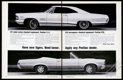 1965 Pontiac GTO convertible 2+2 car photo vintage print ad