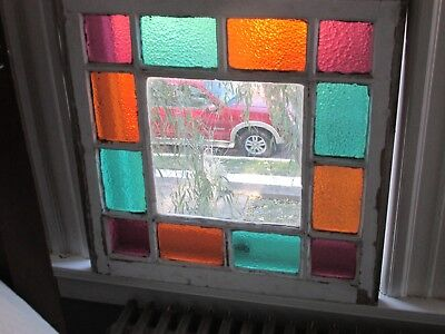 Antique Victorian Queen Anne Stained Glass Window, 24 by 24.25 Inches