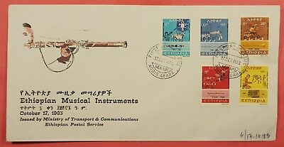 1983 Fdc Ethiopia Musical Instruments #1075-79