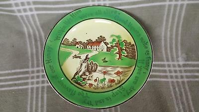"Antique St. Augustine Ware Rabbit Plate 10"" ""Good Liquors Make Us Funny"""