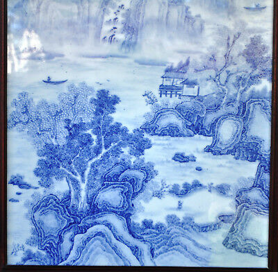 Republic Period Chinese Blue And White Porcelain Plaque