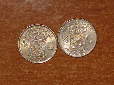 Netherlands East Indies 1938 & 1945 S silver 1/4 Gulden coin Extremely Fine