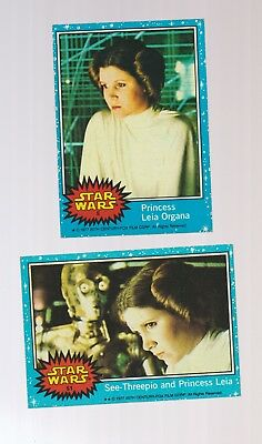 Set of 2 Star Wars Princess Leia Carrie Fisher blue border trading cards 1977