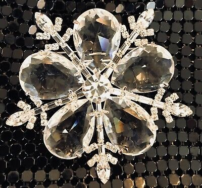 🔥 Signed Vintage New Old Stock Huge Chunky Christmas Tree Snowflake Brooch Pin