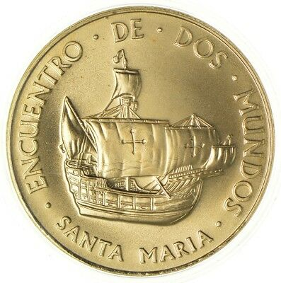 1492-1992 Spain's 500 Years Columbus Gold Plated Copper Medal *703