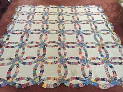 Hand Pieced Antique Feed Sack Double Wedding Ring Quilt Top (02654)