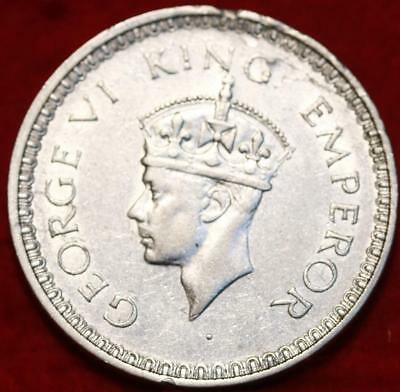 Uncirculated 1943 India Silver Rupee Foreign Coin Free S/H