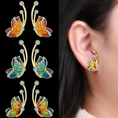 Women Charm Gold Tone Crystal Rhinestone Flying Butterfly Stud Earrings Jewelry